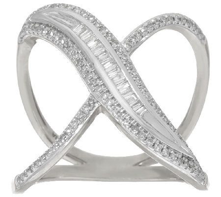 Baguette and Pave' X-Design Diamond Ring, Sterling, 1/3 cttw, Affinity