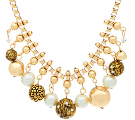 Susan Graver Simulated Pearl Statement Necklace