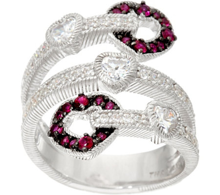 Judith Ripka Sterling Silver Ruby Heart 0.30 cttw Wrap Ring