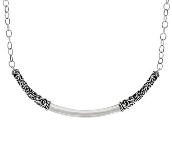 Carolyn Pollack Sterling Silver Signature Curved Bar Necklace - J329089