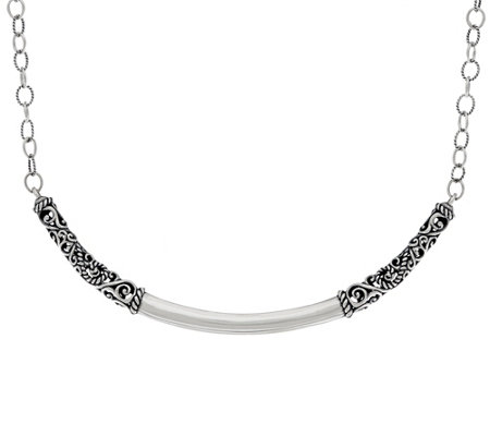 Carolyn Pollack Sterling Silver Signature Curved Bar Necklace