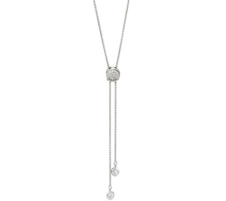 Diamonique 1.15 cttw Adjustable Necklace, Sterling