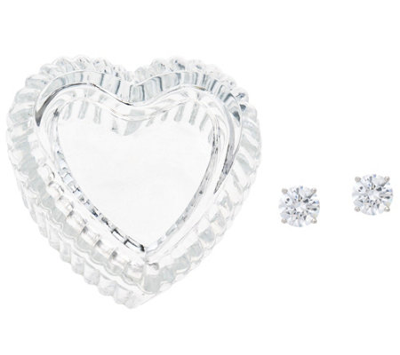 Diamonique 2 cttw Round Stud Earrings in Heart Box, Sterling