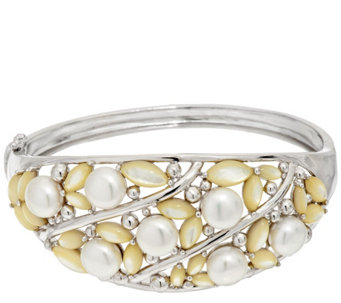 """As Is"" Honora Cultured Pearl & Mother of Pearl Average Sterling Bangle - J331889"