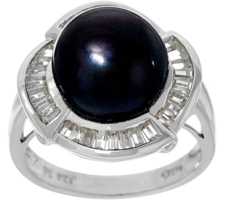 Honora Cultured Pearl 10.0mm & Baguette White Topaz Sterling Ring