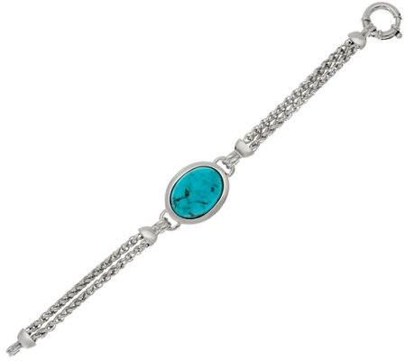 """As Is"" Bold Kingman Turquoise Multi Row Sterling Silver Bracelet"
