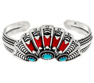 Sterling Silver Red Coral & Turquoise Fan Cuff Bracelet