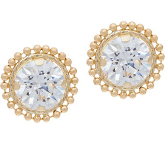 Diamonique Bead Border Stud Earrings, 14K Gold - J334689