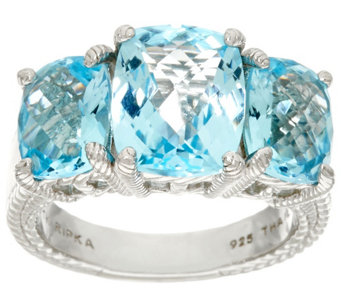 """As Is"" Judith Ripka Sterling 7.80 cttw Blue Topaz 3-Stone Ring - J335689"