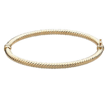 "EternaGold 7"" Round Ribbed Bangle Bracelet, 14KGold, 4.8g - J336289"