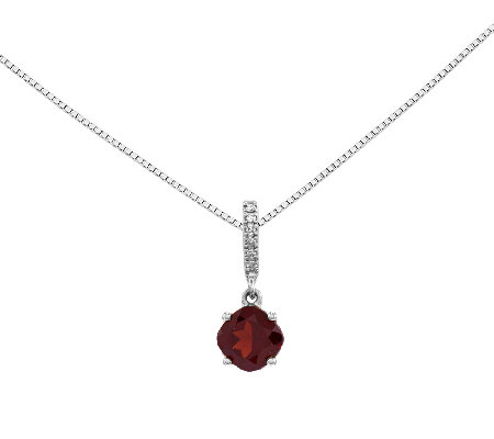 "Choice of Cushion Cut Gemstone Pendant w/18"" Chain,14K"