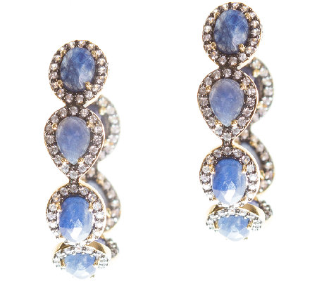 Graziela Gems Sapphire & Zircon Hoop Earrings,Sterling/18K