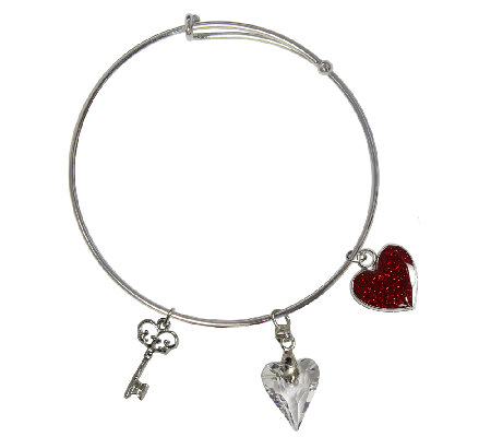 Catherine Galasso Crystal Heart Bangle Bracelet