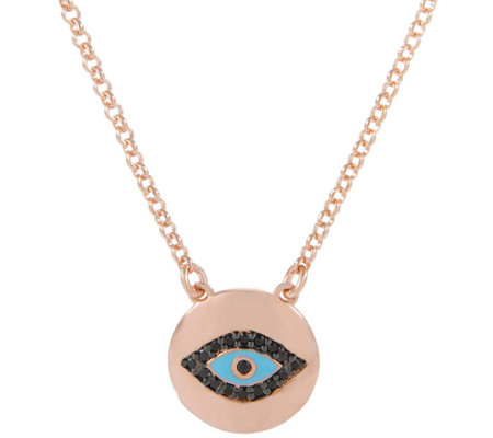 Bronze Gemstone or Crystal Evil Eye Necklace byBronzo Italia