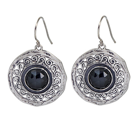 Or Paz Sterling Round Onyx Dangle Earrings