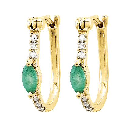 Emerald & Diamond Hinged Hoop Earrings, 14K Gold