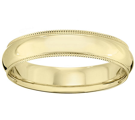 14K Gold 5mm Milgrain Comfort Fit Wedding BandRing