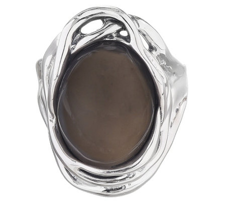 Hagit Sterling Silver Oval Gray Moonstone Ring