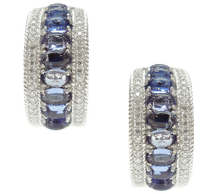 Judith Ripka Sterling w/ Tanzanite & Diamonique Hoop Earrings