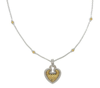 "Judith Ripka Sterling Diamonique Pave Heart 1 8"" Necklace - J341889"