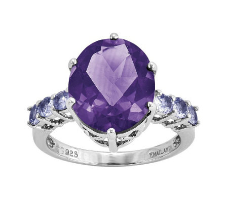 Sterling 5.65 cttw Amethyst and Tanzanite Ring