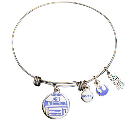 Star Wars Stainless Steel R2-D2 Expandable Charm Bracelet