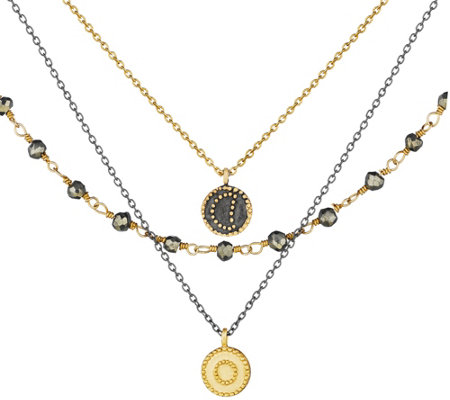 Satya Pyrite Celestial Triple Strand Necklace