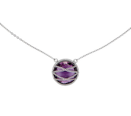 "Sterling Wrapped Round Gemstone 18"" Necklace"