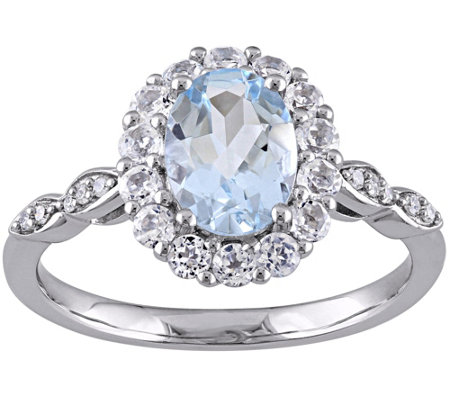 1.60 cttw Aquamarine & White Topaz Ring, 14K