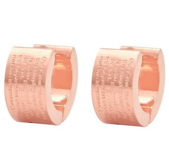Stainless Steel Lord's Prayer Huggie Hoop Earrings - J343589