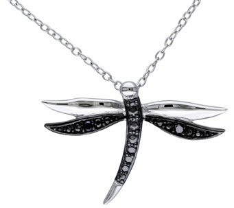 Black Diamond Accent Dragonfly Pendant w/ Chain - J343889