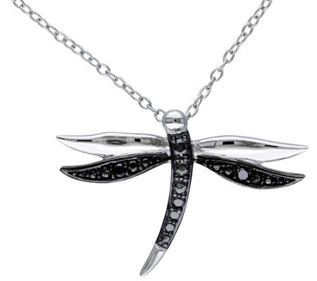 Black Diamond Accent Dragonfly Pendant w/ Chain