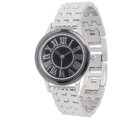 Stainless Steel Panther Link Watch with CeramicAccent