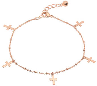 Stainless Steel Cross Dangle Ankle Bracelet - J344489