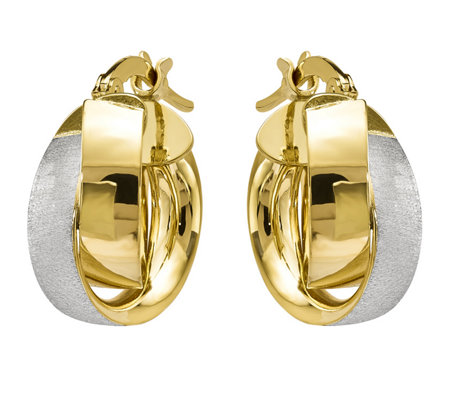 14K Gold Polished & Textured Double Hoop Earrings