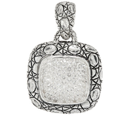 JAI Sterling Silver Pave Gemstone Pendant w/ Croco Border