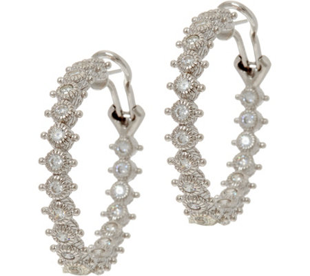 Judith Ripka Sterling Silver 1.55 cttw Diamonique Hoop Earrings