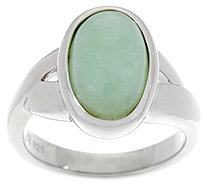 Oval Jade Sterling Silver Ring - J348789
