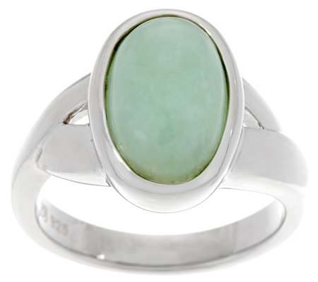 Oval Jade Sterling Silver Ring