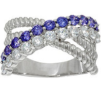 Diamonique and Simulated Tanzanite Band Ring, Sterling - J349689