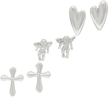 Sterling Silver Set of 3 Petite Stud Earrings by Silver Style