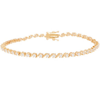 diamonique sbar tennis bracelet 14k gold j350589