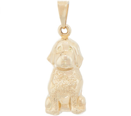 Italian Gold Dog Pendant 14K Gold