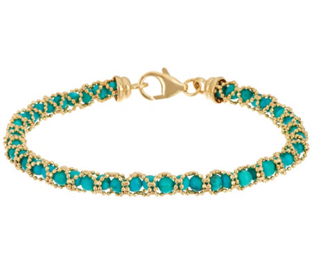 """As Is"" Italian Gold 6-3/4"" Gemstone Bead Bracelet, 14K Gold"