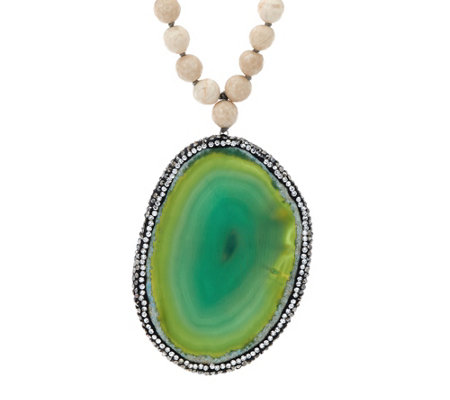 """As Is"" Ellie Madison Choice of Colored Agate Gemstone Necklace"