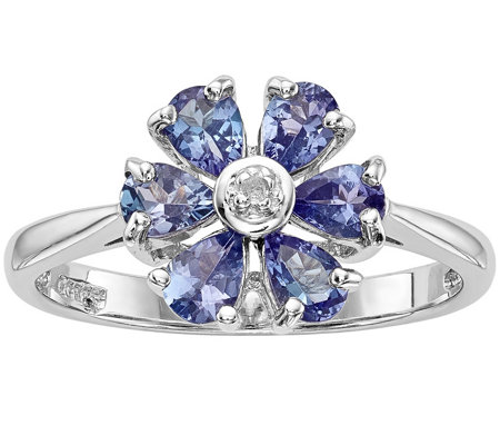 Sterling Tanzanite & Diamond Accent Flower Ring