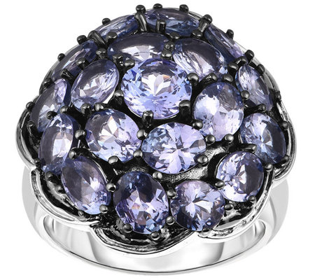 Sterling 5.50 cttw Tanzanite Cluster Ring