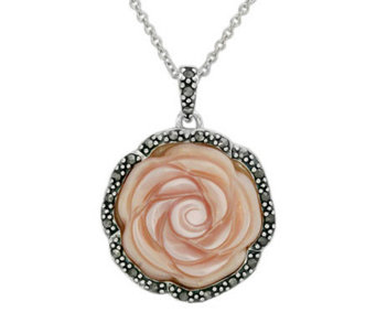 Suspicion Sterling Marcasite & Pink Shell RosePendant w/Chain - J112490