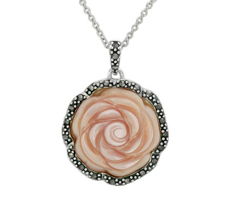 Suspicion Sterling Marcasite & Pink Shell RosePendant w/Chain