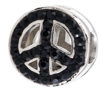 Prerogatives Sterling Black & Clear Crystal Peace Symbol Bead - J113290